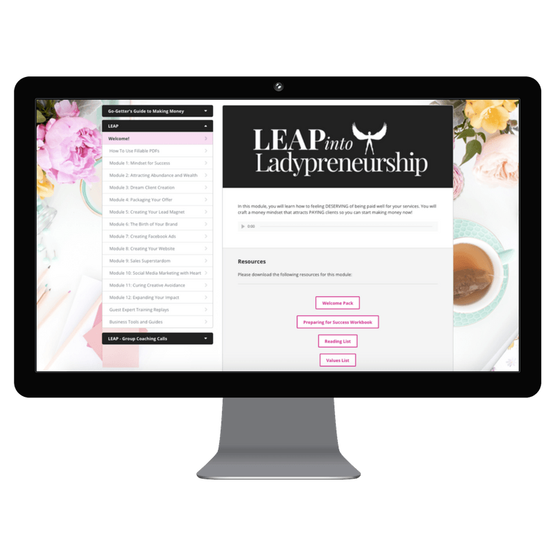Leap into Ladypreneurship membership area on a computer screen